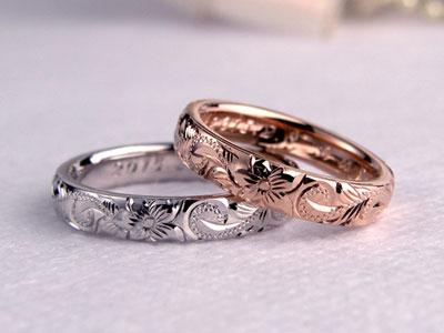 ハワイアン彫刻手作り結婚指輪