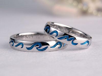 ブルーの波手作り結婚指輪