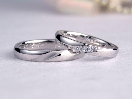 水色ダイヤ手作り結婚指輪