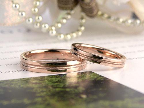 ピンクゴールドカジュアル結婚指輪