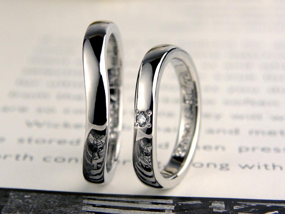 U字型に歪んだ手作り結婚指輪