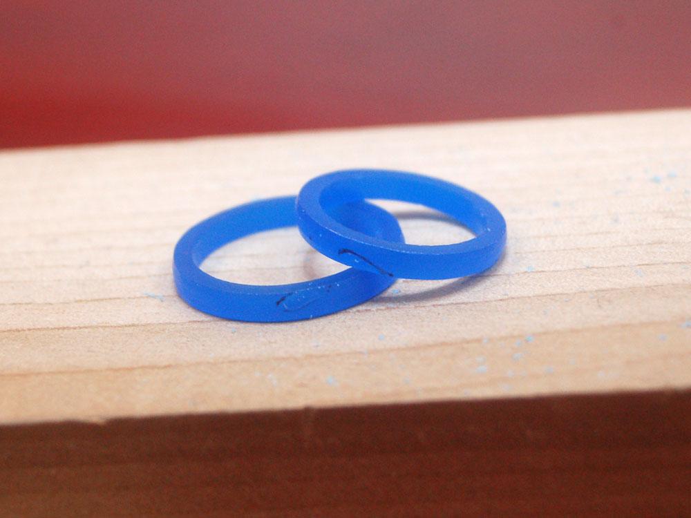 ハートを削った結婚指輪の原型