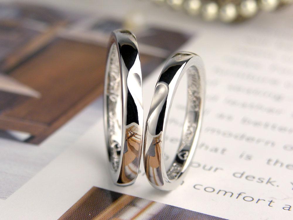 合わせるとハートが浮かぶ手作り結婚指輪