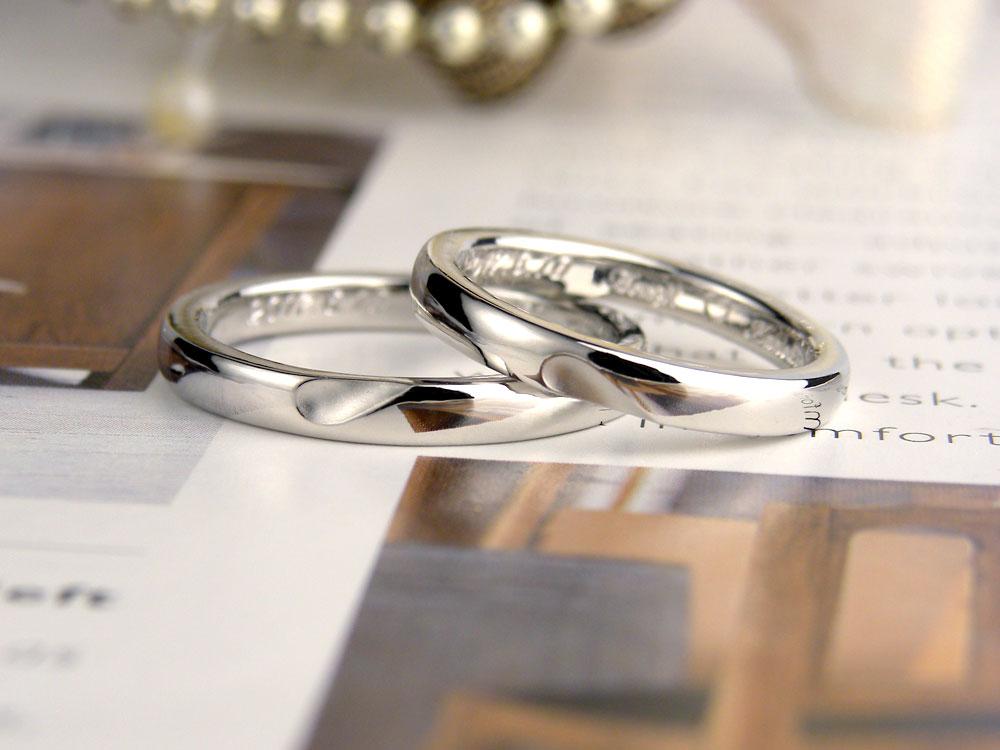 ハートを削った手作り結婚指輪