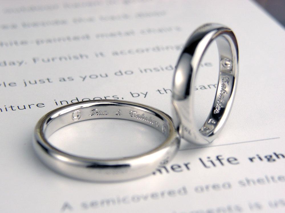 内側にオリジナルマーク月と太陽手作り結婚指輪