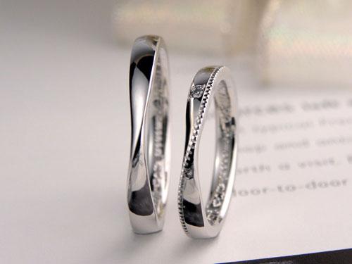 メビウスの輪にミル打ち指輪