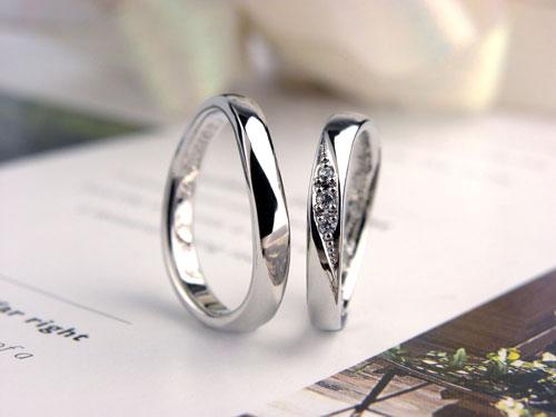 プラチナダイヤ手作り結婚指輪