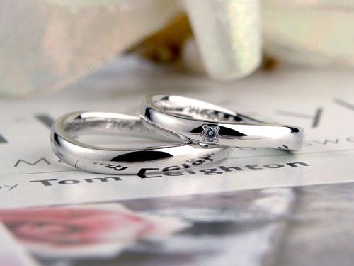 手作りS字型プラチナ結婚指輪