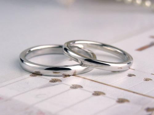 プラチナ甲丸シンプルな手作り結婚指輪