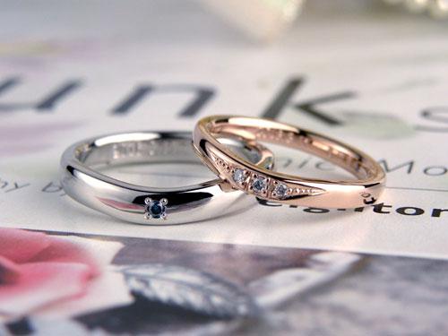 ピンクゴールドとプラチナの手作り結婚指輪