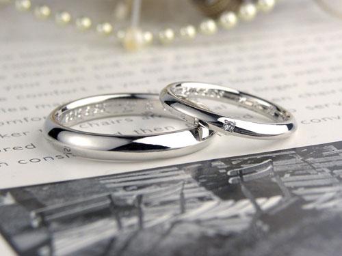 表面がオニギリ型の手作り結婚指輪