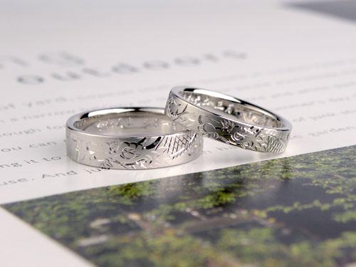 龍の手彫り彫刻の結婚指輪