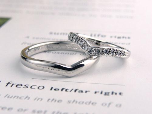 V字型ダイヤモンド手作り結婚指輪