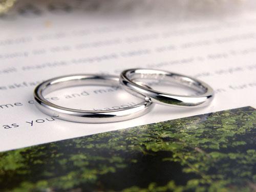 細身の甲丸型結婚指輪