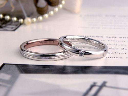 内側ピンクの結婚指輪