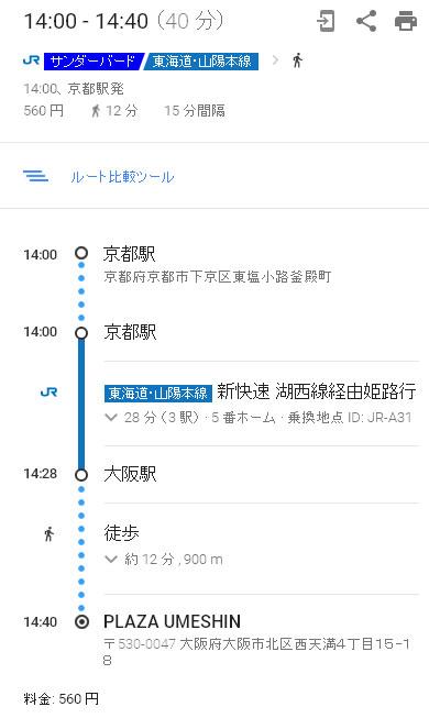 京都から大阪駅まで電車ルート
