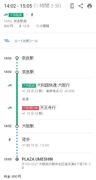 奈良から大阪駅まで電車ルート