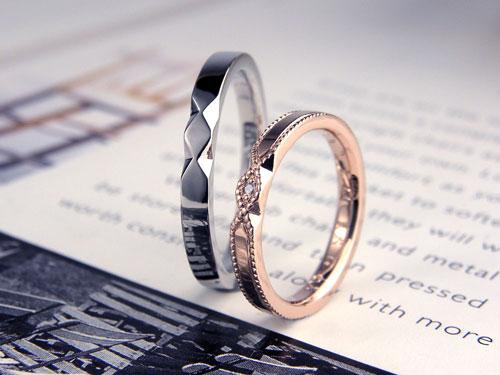 ミル打ちとひし形の手作り結婚指輪