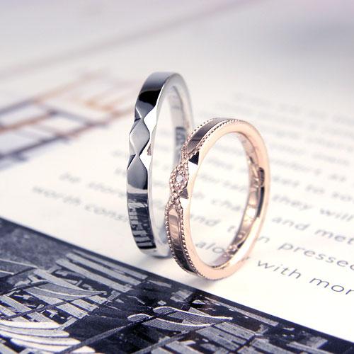 アンティークなミル打ち手作り結婚指輪