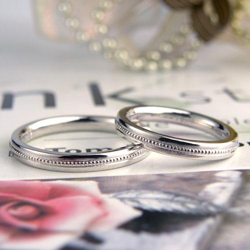 中央ミル打ちの手作り結婚指輪