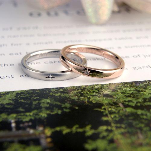 キラキラ輝き彫刻の手作り結婚指輪