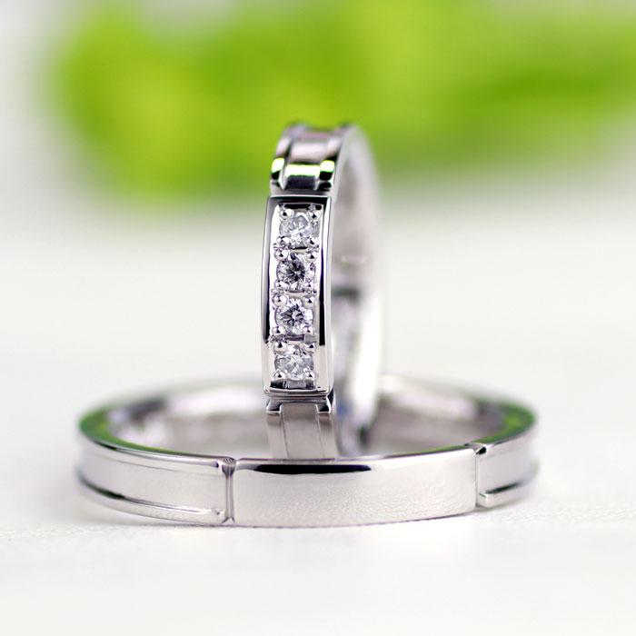 クールなダイヤ手作り結婚指輪