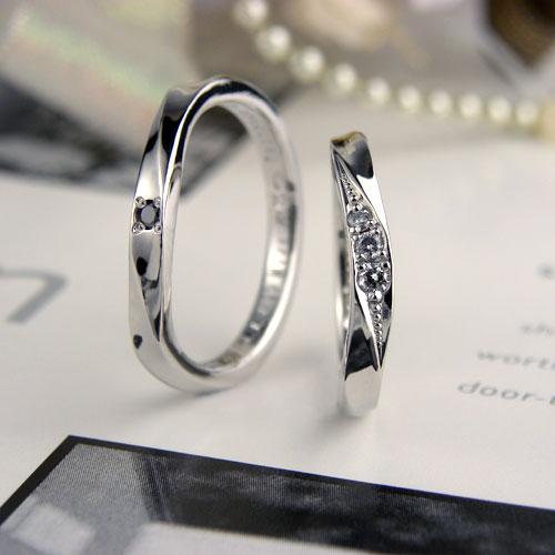 U字型で捻れた手作り結婚指輪