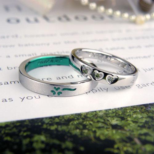 グリーンのクローバー手作り結婚指輪