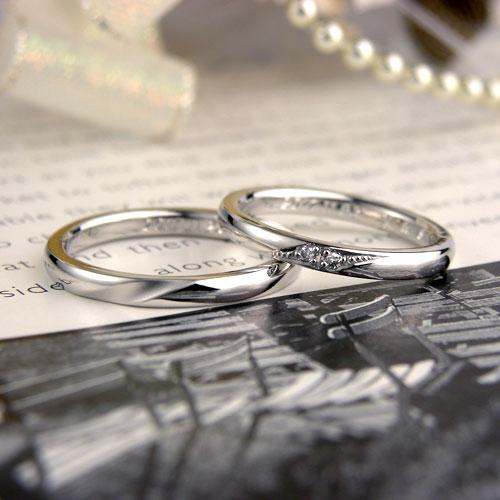 シンプル甲丸ダイヤ手作り結婚指輪