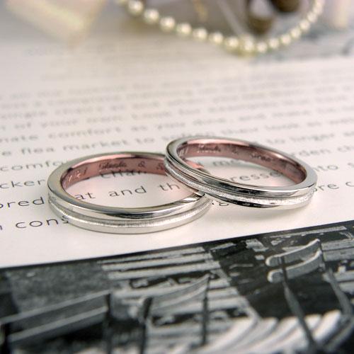 内側ピンクメッキの結婚指輪