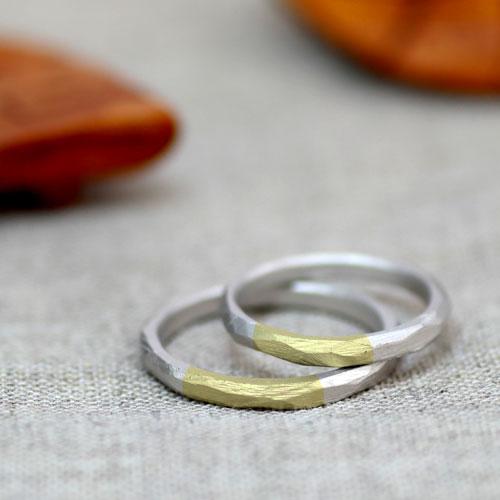 プラチナとイエローゴールド細身の手作り結婚指輪
