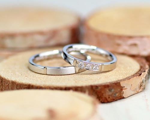 クールで幾何学の手作り結婚指輪