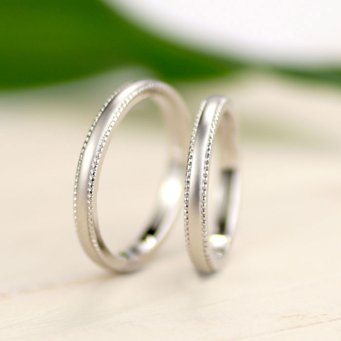 ミル打ちとつや消しの可愛い手作り結婚指輪