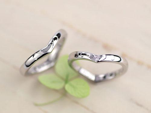 シルエットがハートに見え手作り結婚指輪