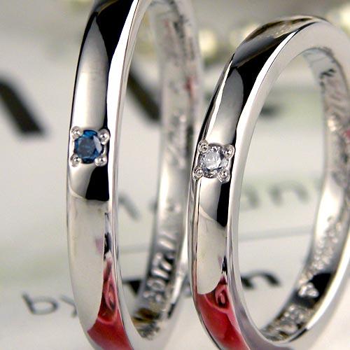 メンズにもブルーダイヤでおしゃれな手作り結婚指輪