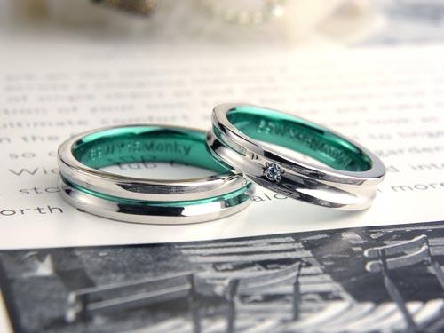 幅広グリーンライン手作り結婚指輪