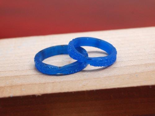 2連風凸凹テクスチャ手作り結婚指輪原型