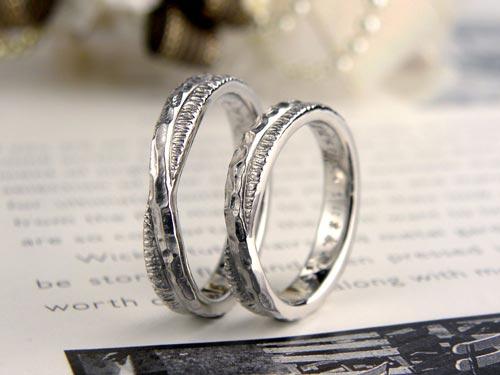 2連風凸凹テクスチャ手作り結婚指輪