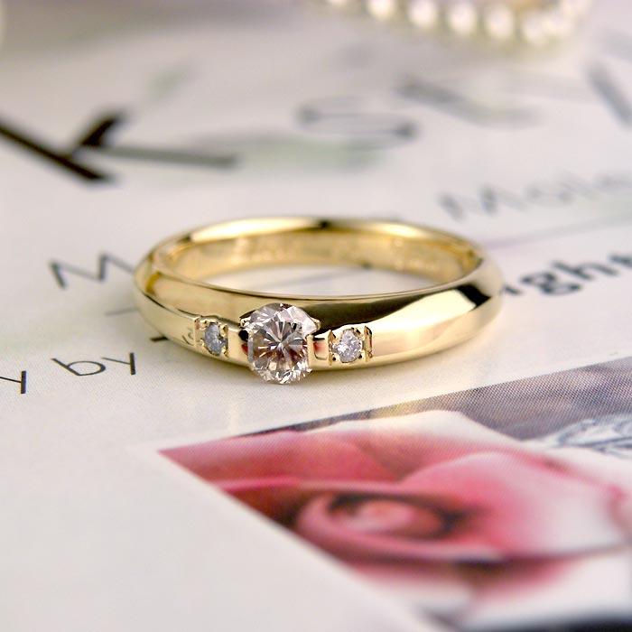 イエローゴールドダイヤ手作り婚約指輪