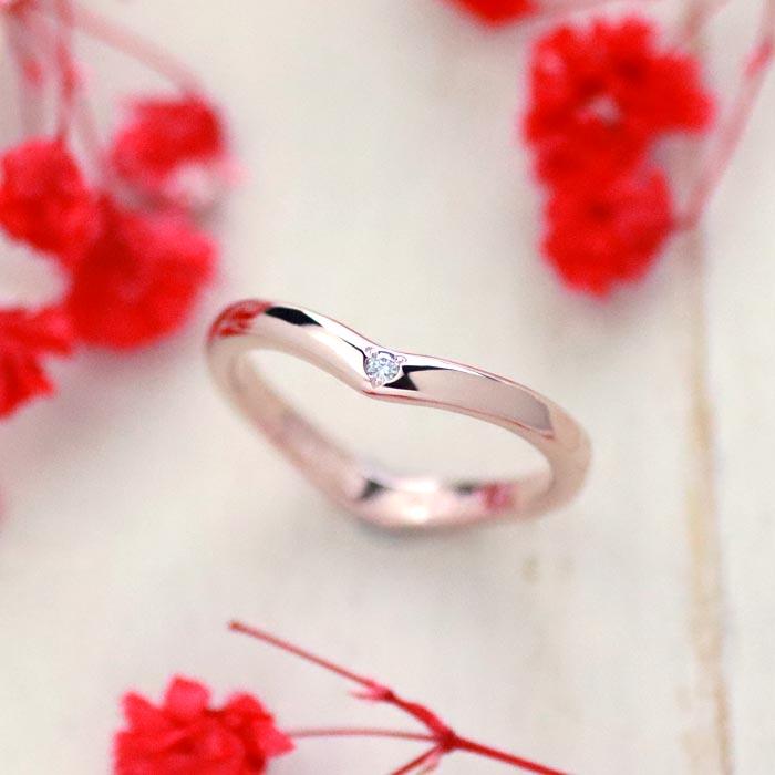 ピンクゴールドダイヤ手作り婚約指輪