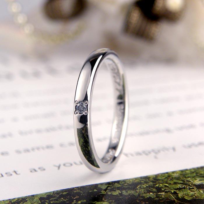 プラチナ甲丸ダイヤ手作り婚約指輪