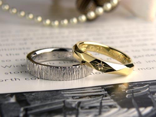 手作業で模様を入れた結婚指輪