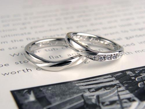 V字型で捻じれたダイヤ手作り結婚指輪