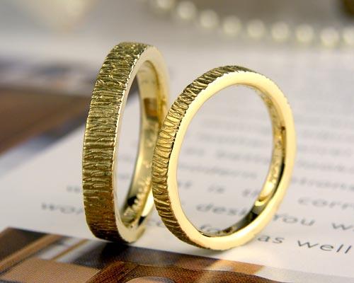 イエローゴールド手作り結婚指輪