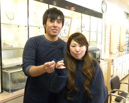 結婚指輪の原型が完成した二人