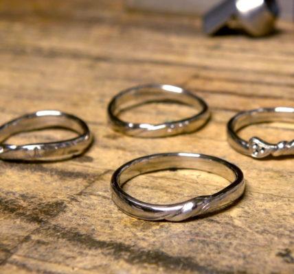 仕上げ前の手作り結婚指輪