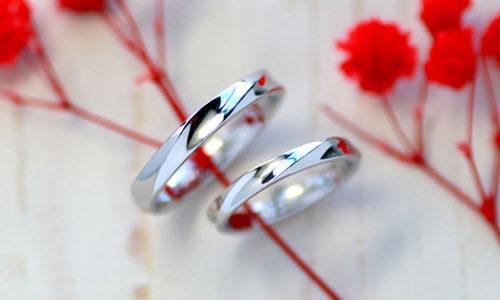 逆甲丸の捻じれ手作り結婚指輪