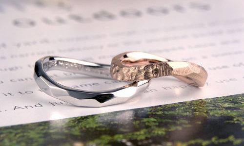 表面にいろいろな模様を入れた手作り結婚指輪
