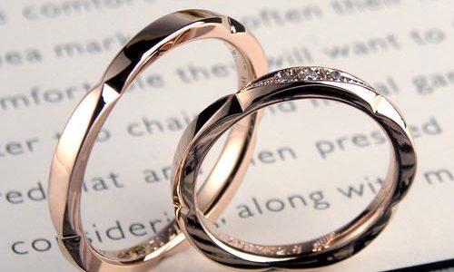 ピンクゴールドの花びら手作り結婚指輪
