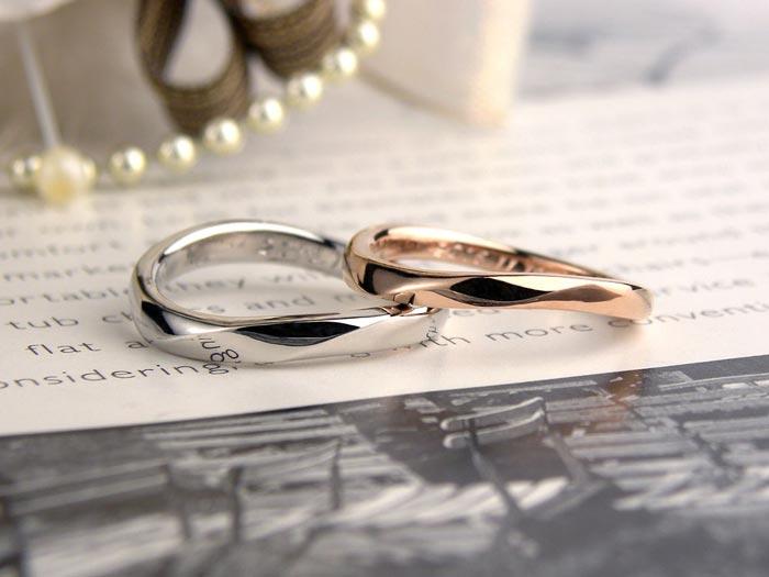 S字型ピンクゴールドプラチナ結婚指輪